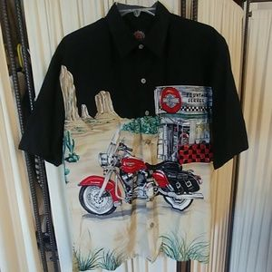 Harley Davidson Mens M S/S Button Down